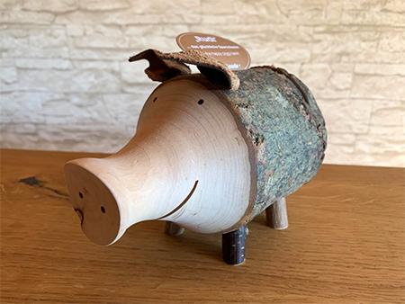 tirelire tronc d'arbre en forme de cochon