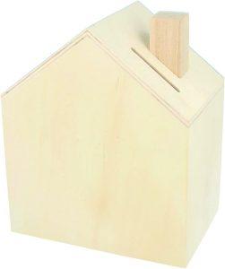 tirelire en bois en forme de maison