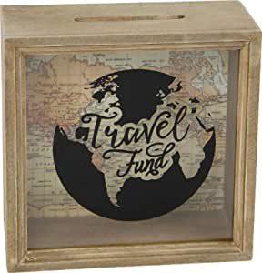 tirelire décorative en bois sur le thème du voyage