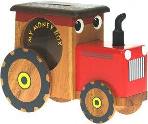 tracteur en bois avec vitre